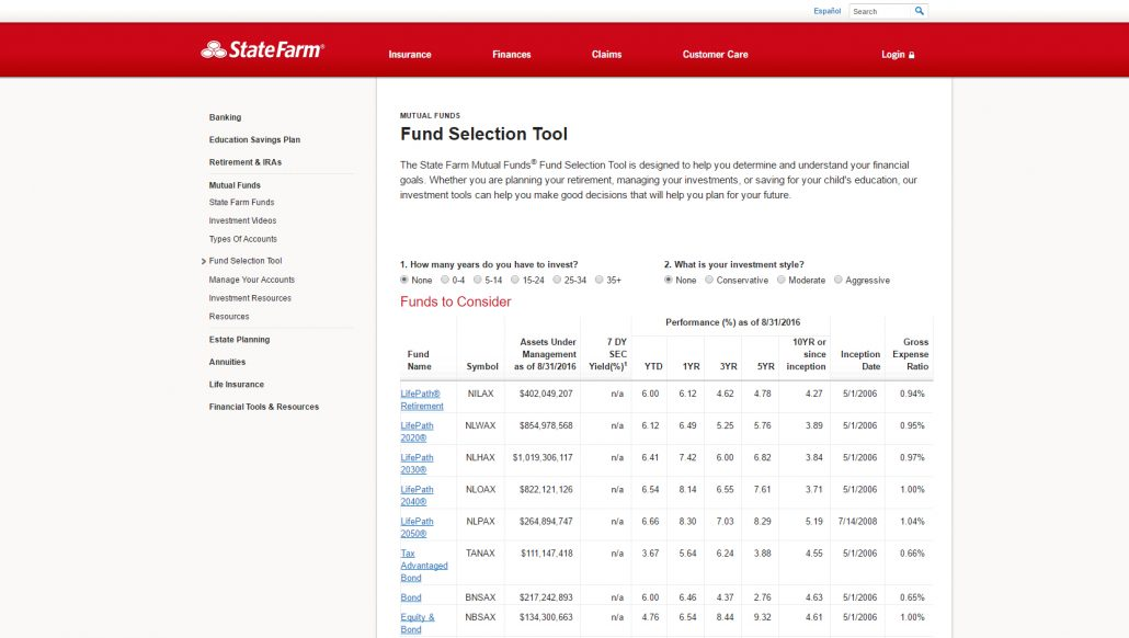 State Farm Mutual Funds Selector